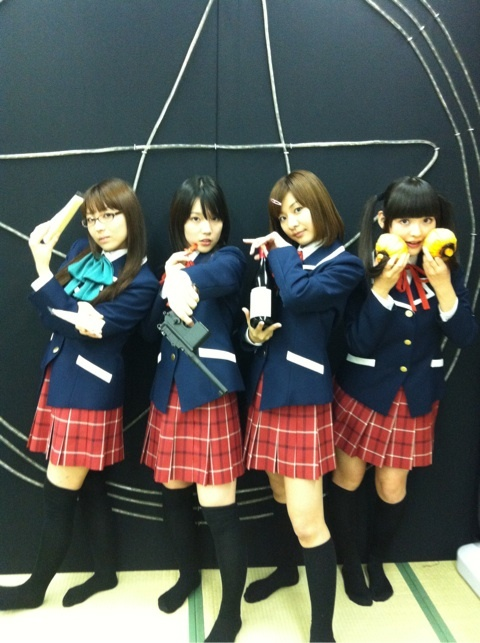 From the right: Asakura Azumi, Uchida Maaya, Akasaki Chinatsu and Uesaka Sumire